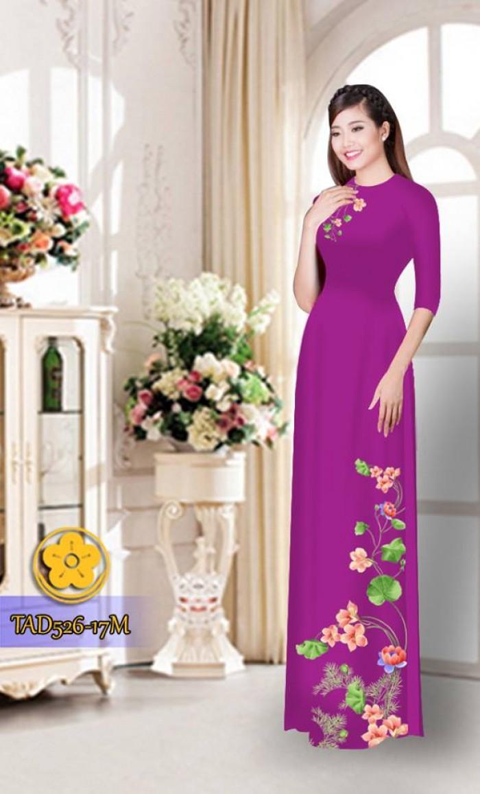 Vải áo dài hoa đẹp TAD5262