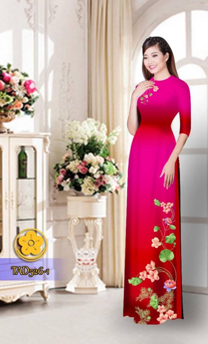 Vải áo dài hoa đẹp TAD5263