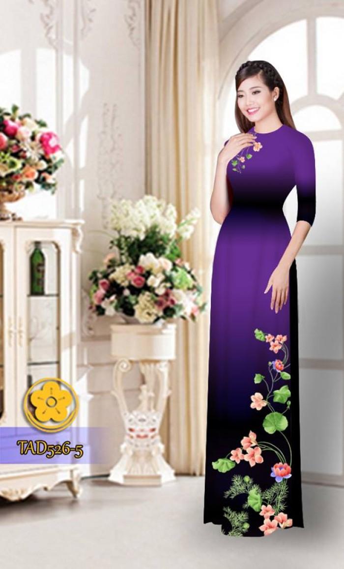 Vải áo dài hoa đẹp TAD5265