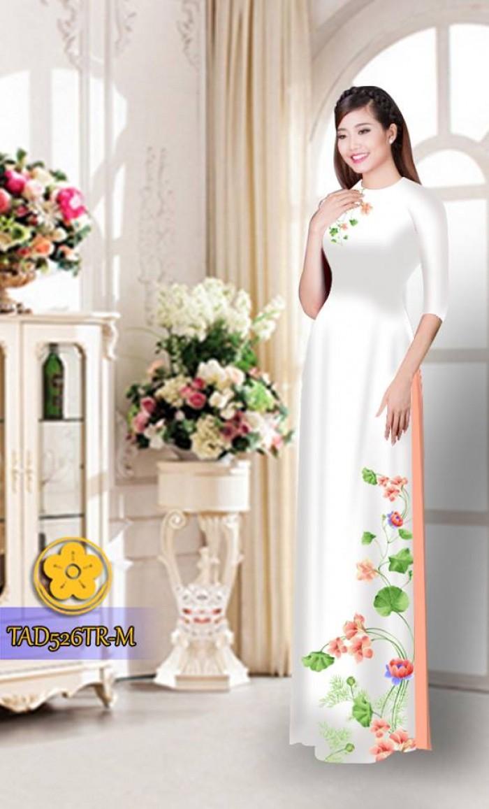 Vải áo dài hoa đẹp TAD5267