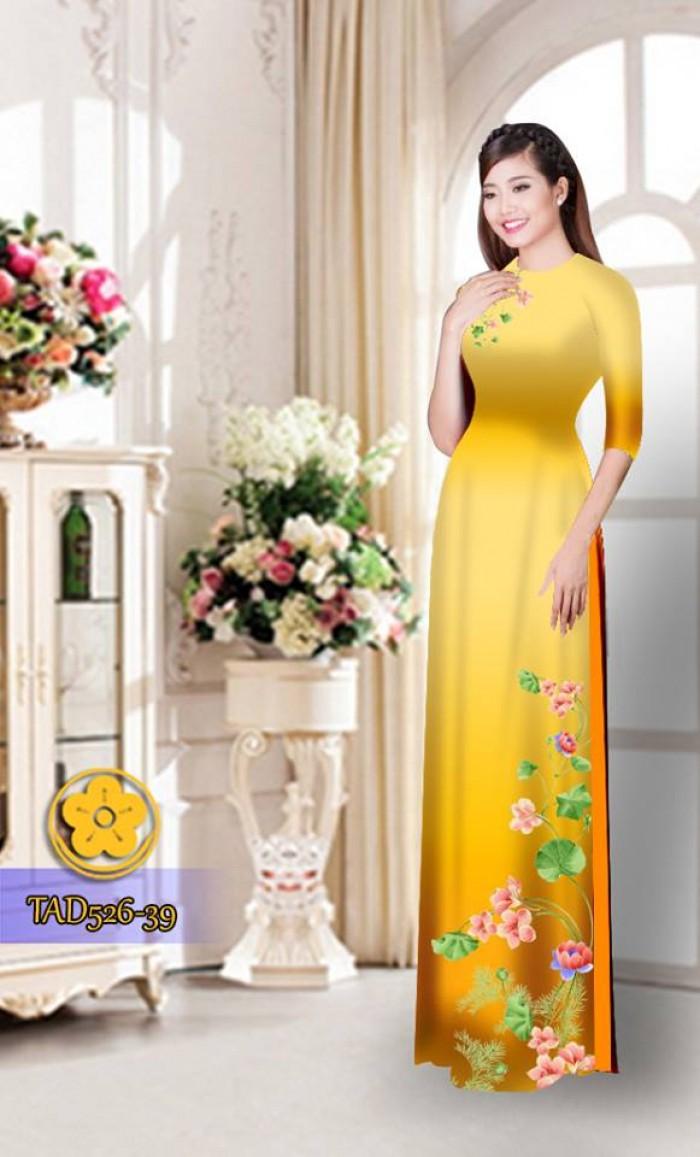 Vải áo dài hoa đẹp TAD5268