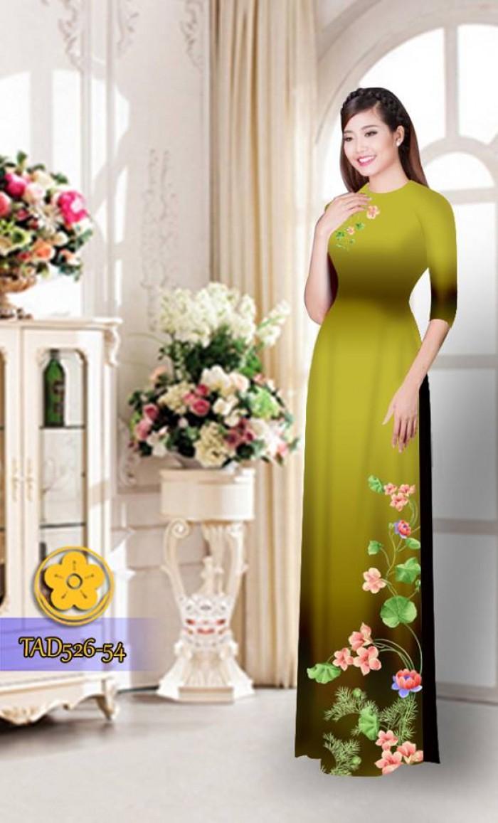 Vải áo dài hoa đẹp TAD52611
