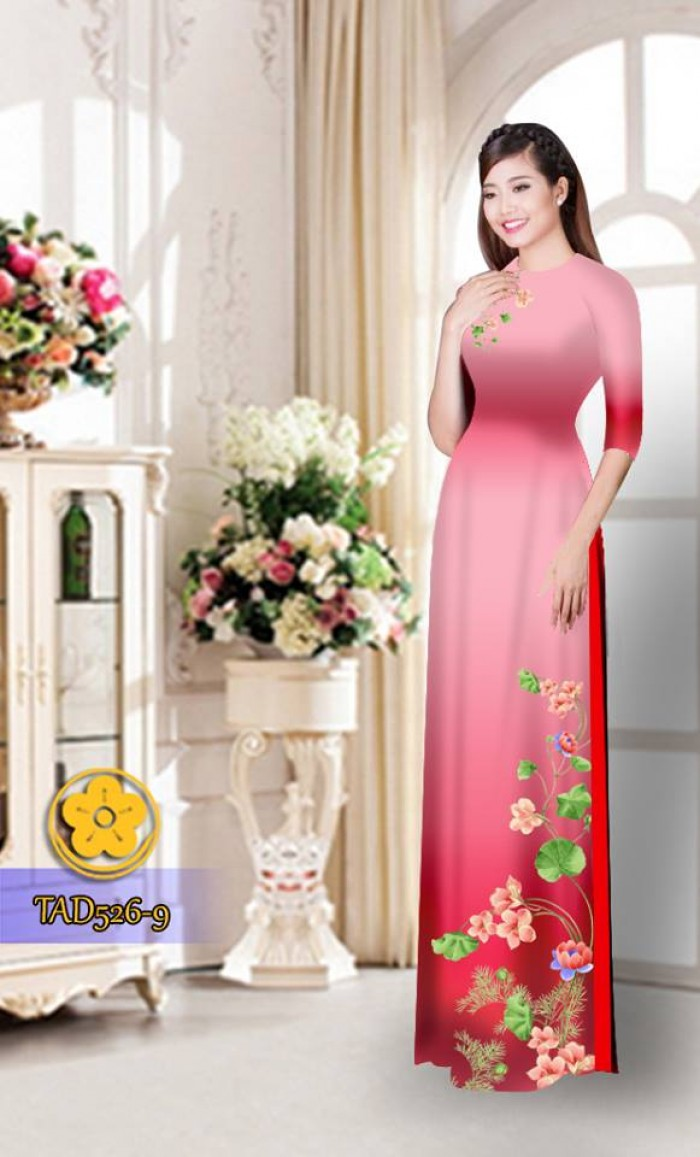 Vải áo dài hoa đẹp TAD52612
