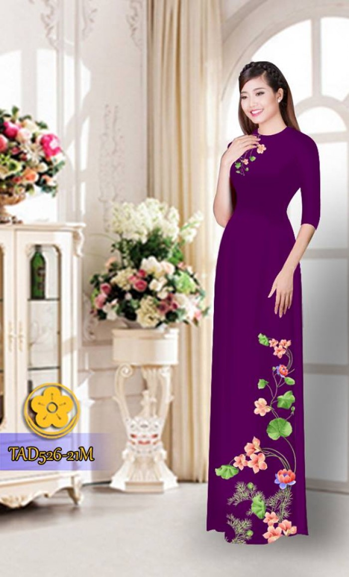 Vải áo dài hoa đẹp TAD52615