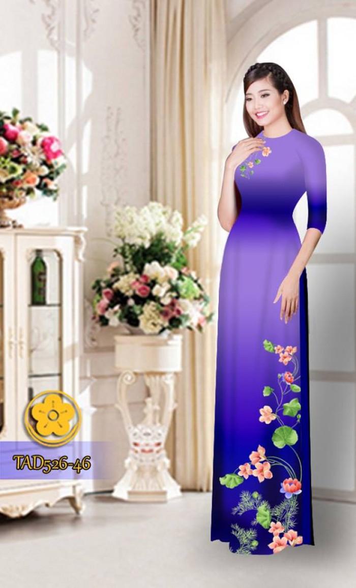 Vải áo dài hoa đẹp TAD52616