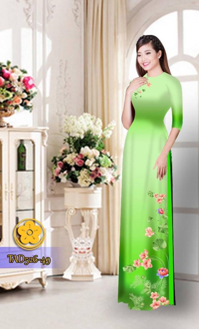 Vải áo dài hoa đẹp TAD52617