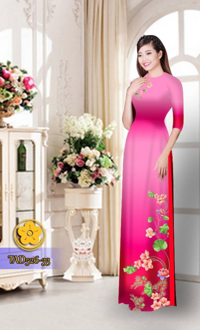 Vải áo dài hoa đẹp TAD52618