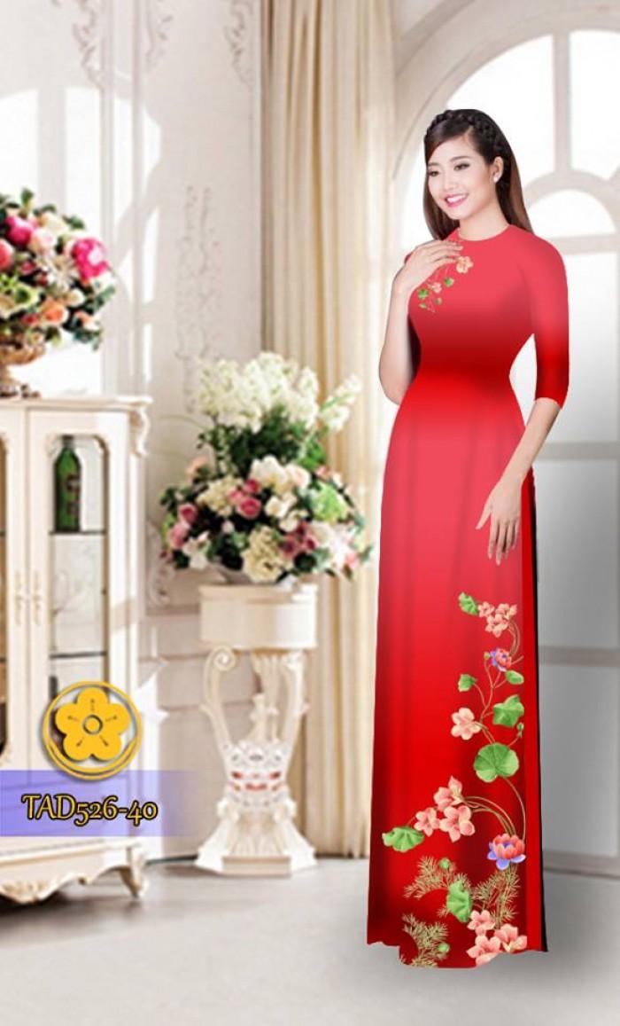 Vải áo dài hoa đẹp TAD52621
