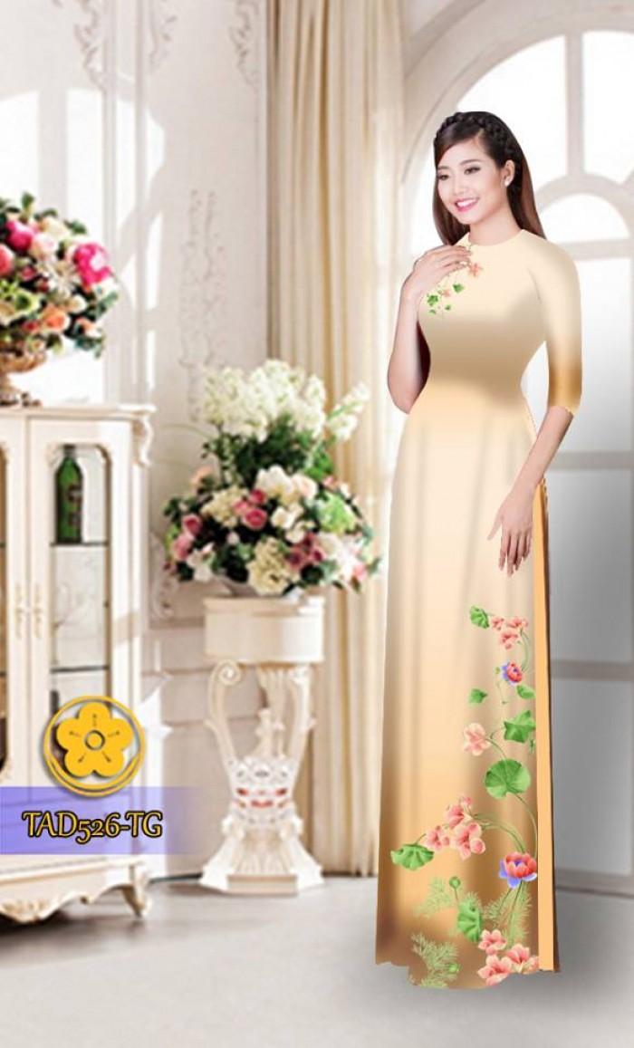 Vải áo dài hoa đẹp TAD52624