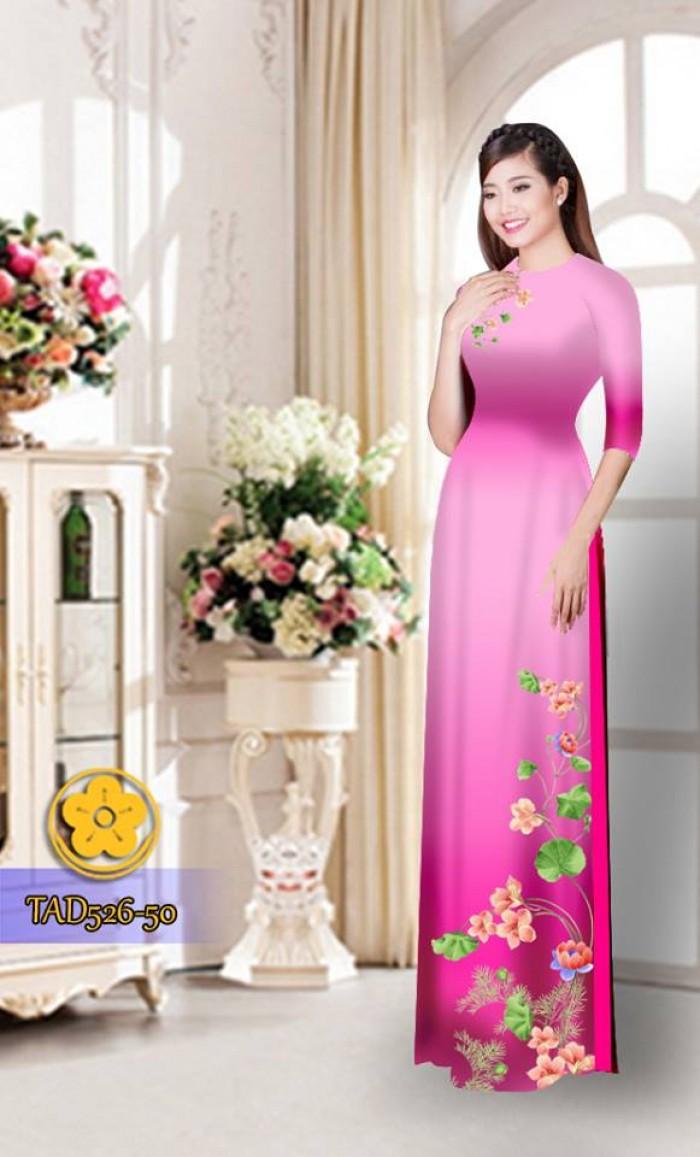 Vải áo dài hoa đẹp TAD52625