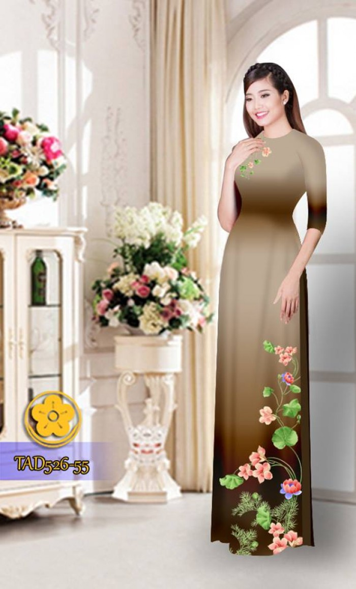 Vải áo dài hoa đẹp TAD52627