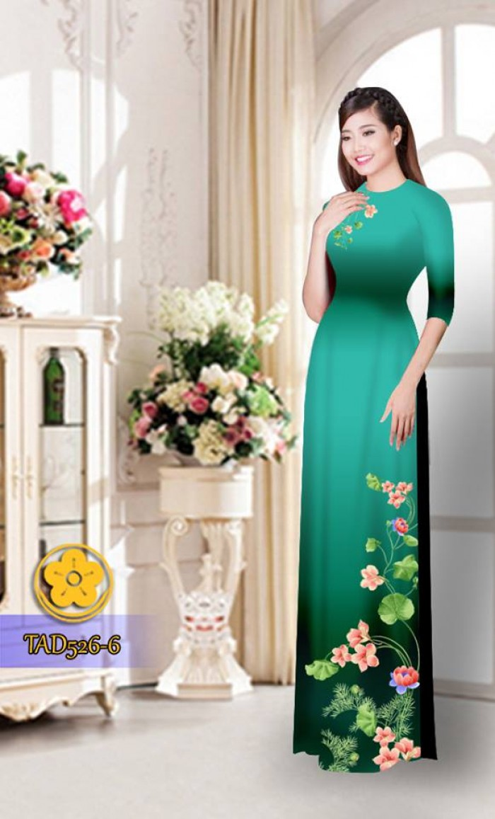 Vải áo dài hoa đẹp TAD52630
