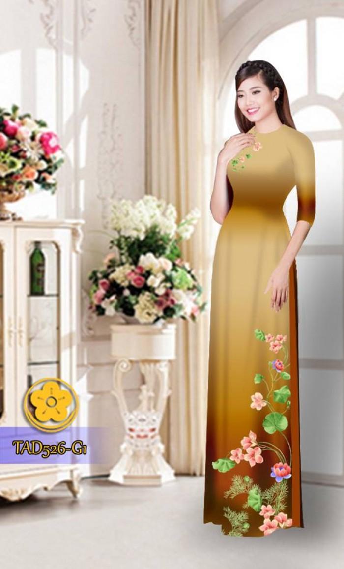 Vải áo dài hoa đẹp TAD52632