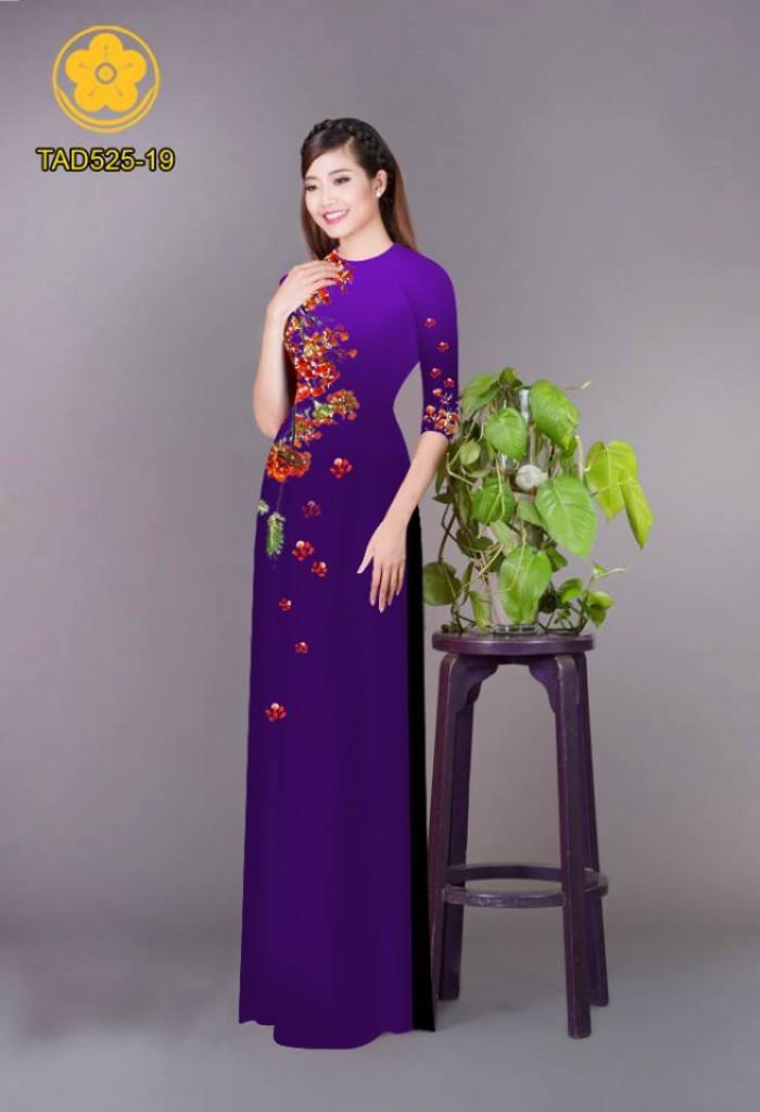 Vải áo dài hoa phượng TAD5250