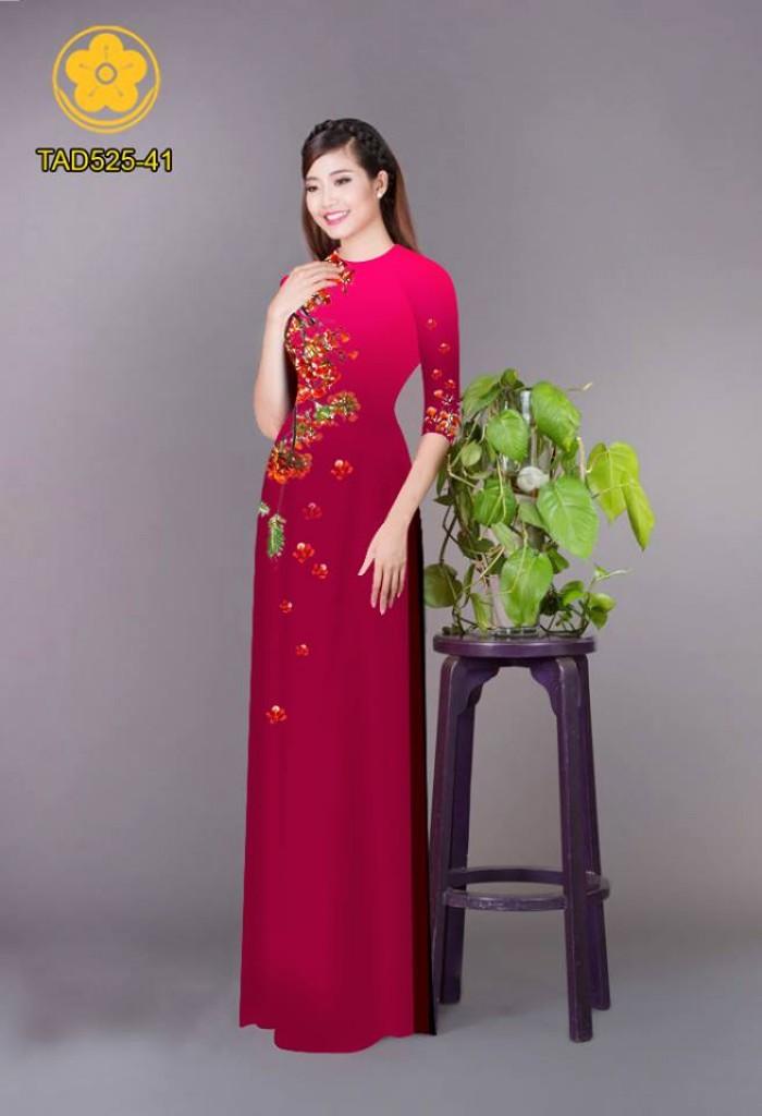 Vải áo dài hoa phượng TAD5257