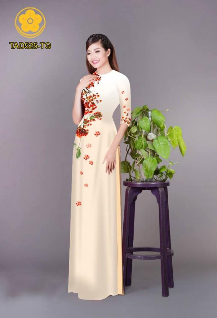 Vải áo dài hoa phượng TAD52511