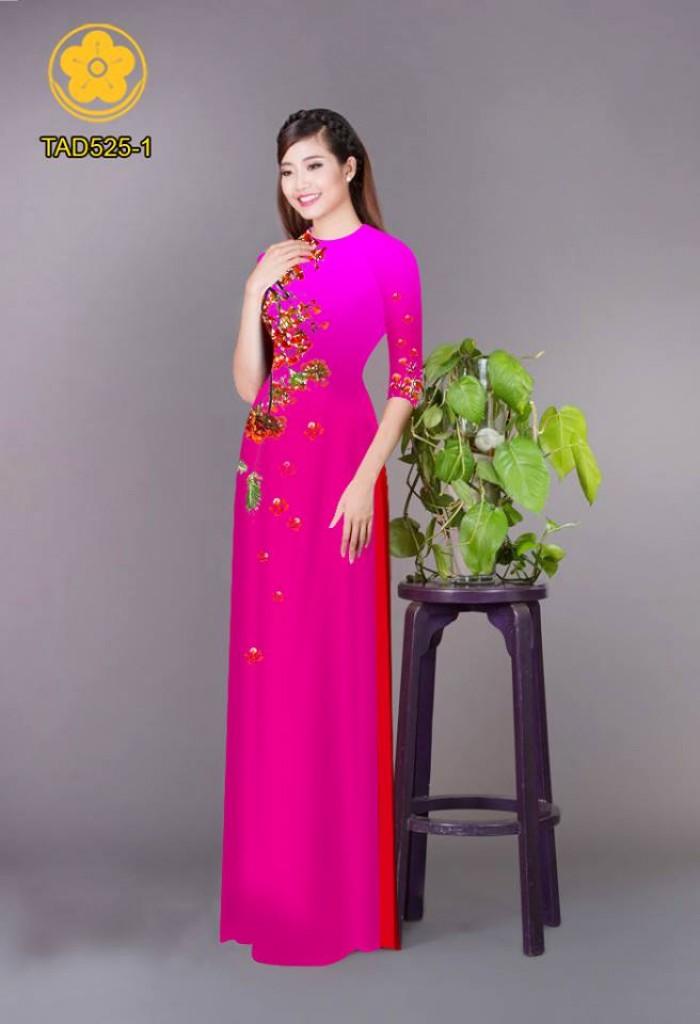 Vải áo dài hoa phượng TAD52512