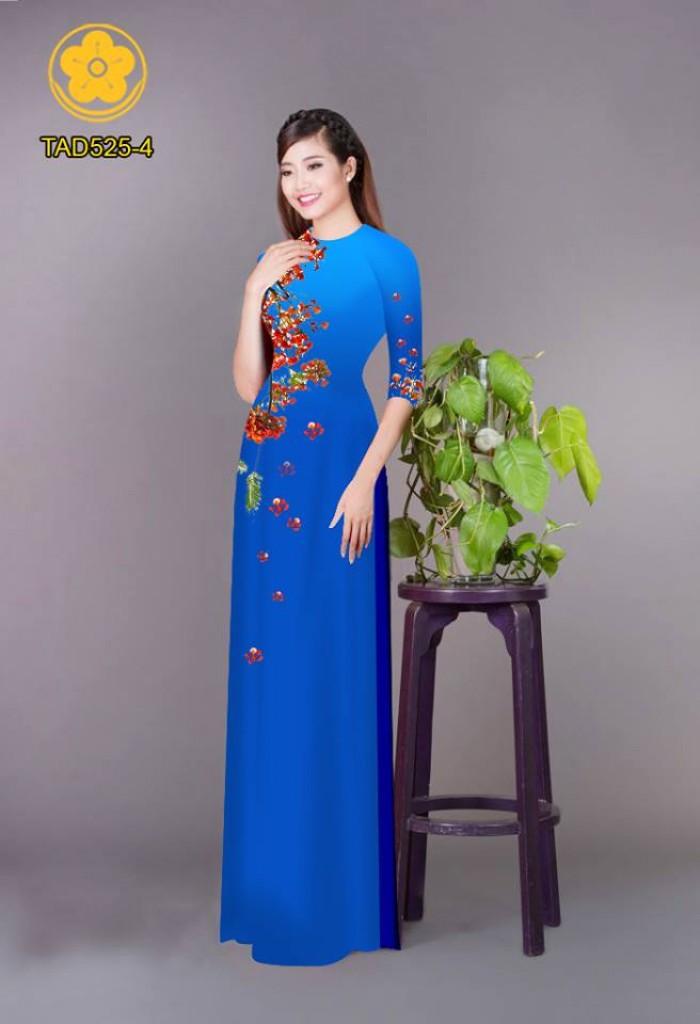 Vải áo dài hoa phượng TAD52513