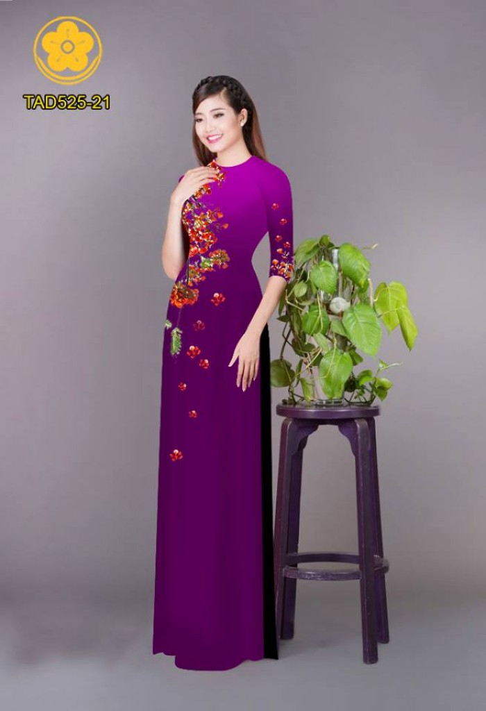 Vải áo dài hoa phượng TAD52514