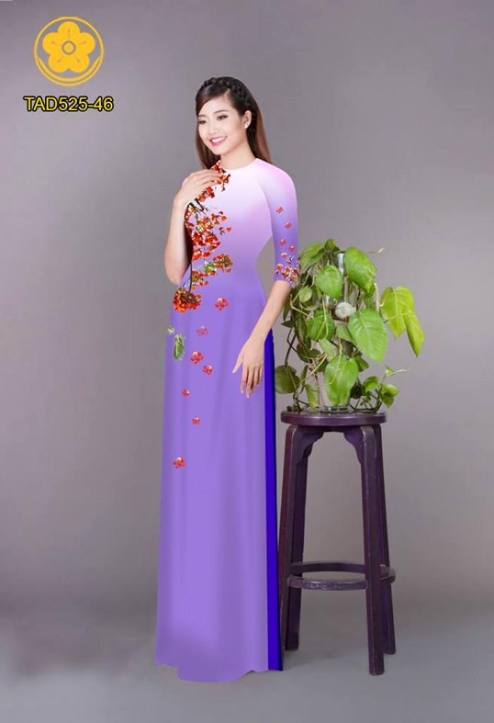 Vải áo dài hoa phượng TAD52516