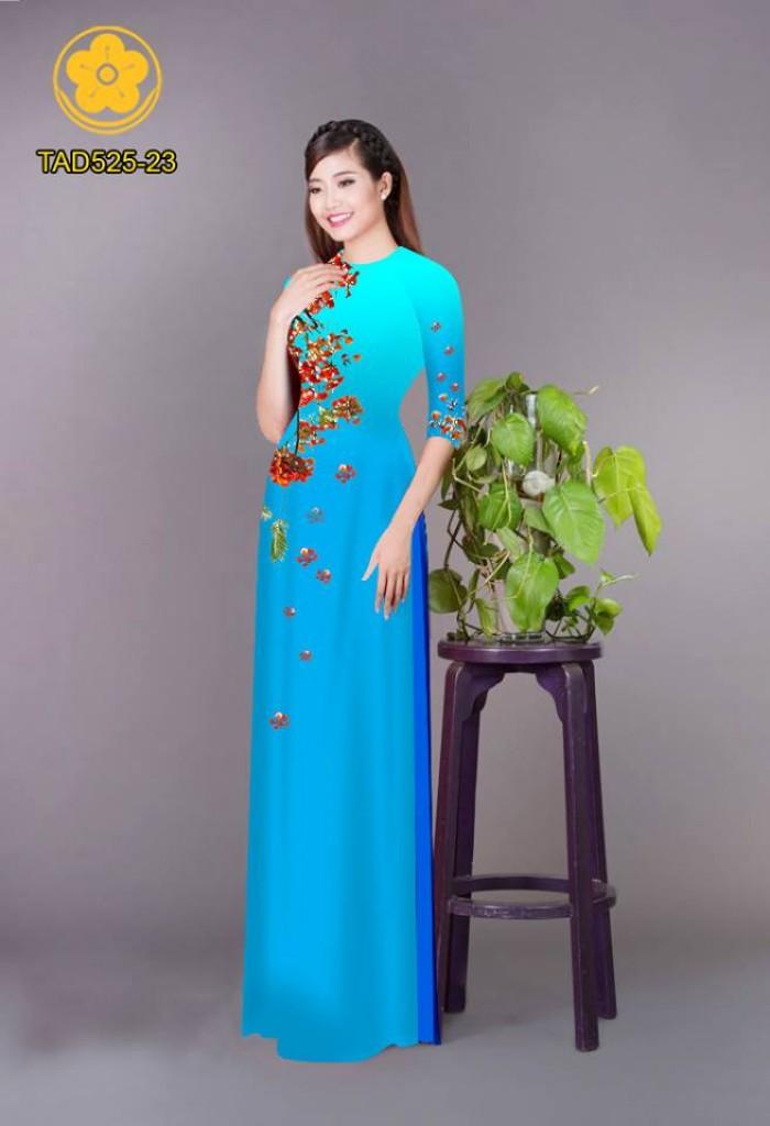 Vải áo dài hoa phượng TAD52517