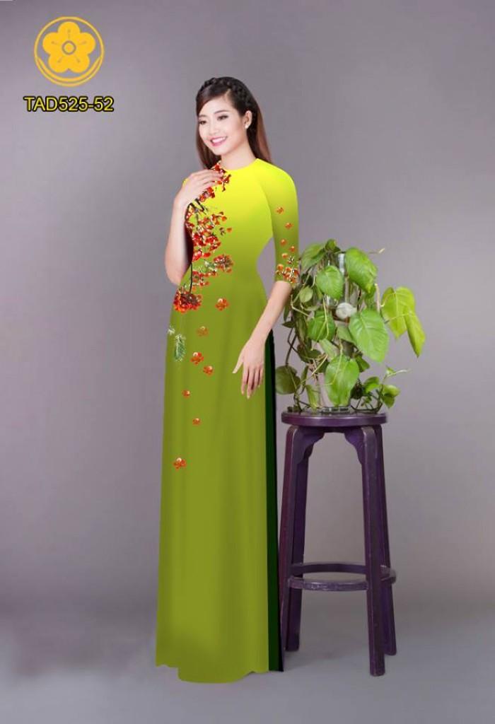 Vải áo dài hoa phượng TAD52518