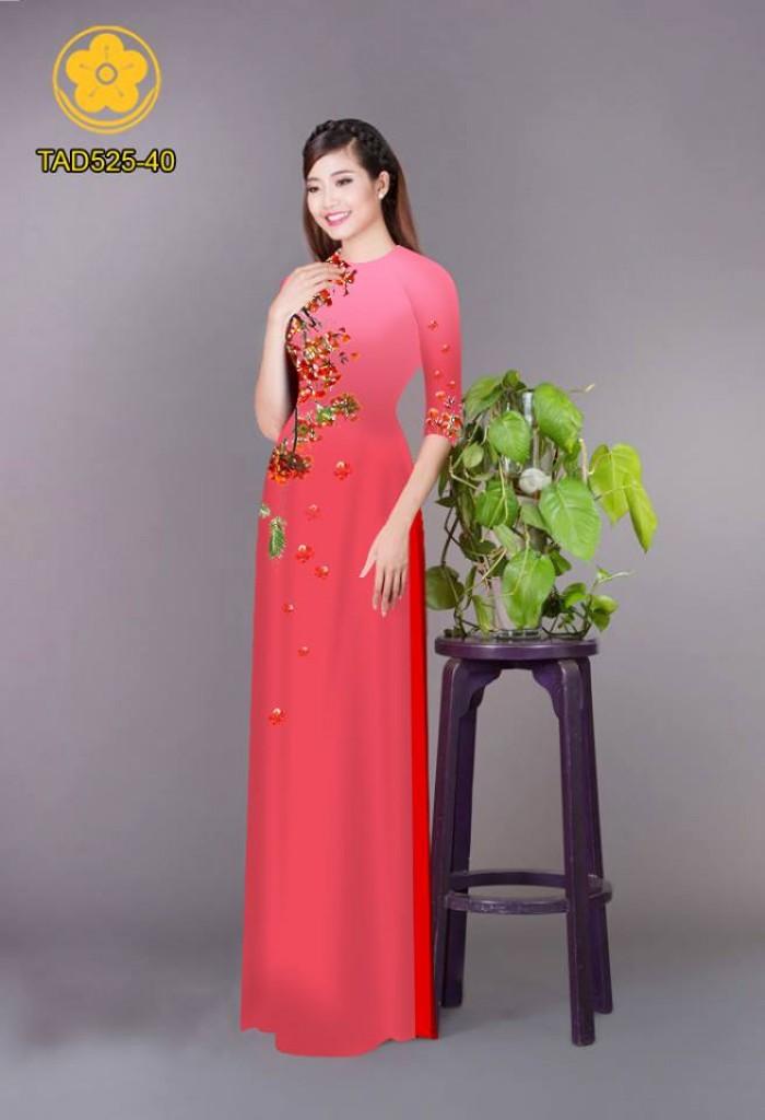 Vải áo dài hoa phượng TAD52519