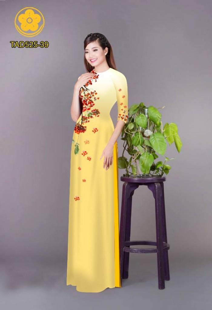 Vải áo dài hoa phượng TAD52521