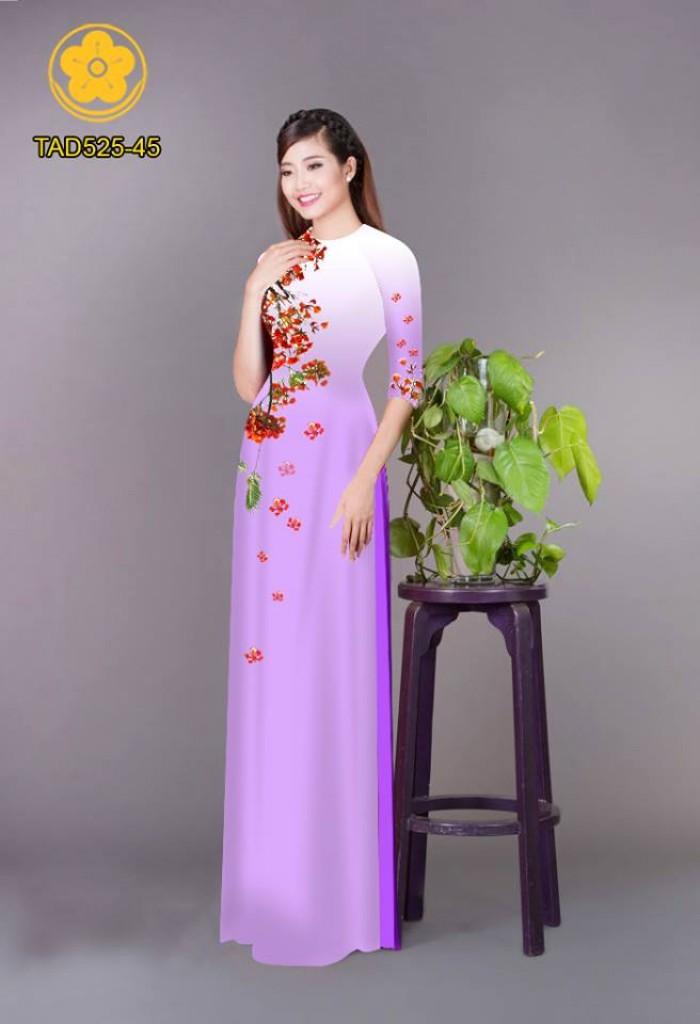 Vải áo dài hoa phượng TAD52522
