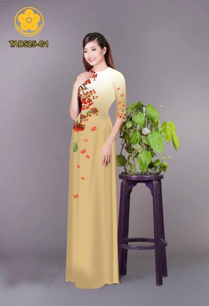 Vải áo dài hoa phượng TAD52523