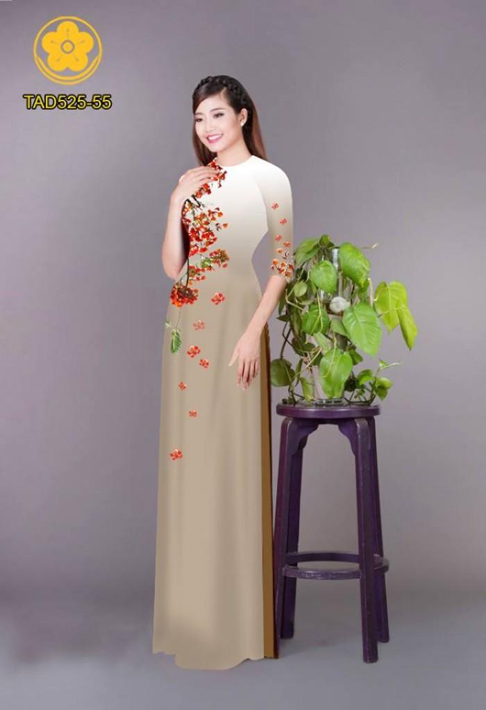 Vải áo dài hoa phượng TAD52524