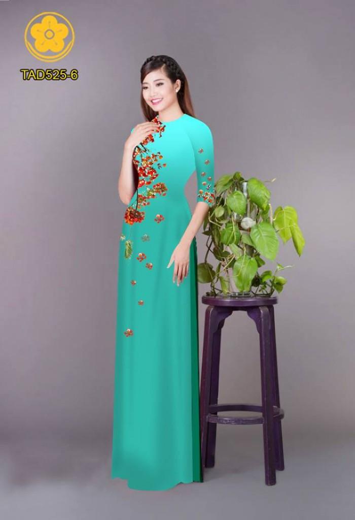 Vải áo dài hoa phượng TAD52525