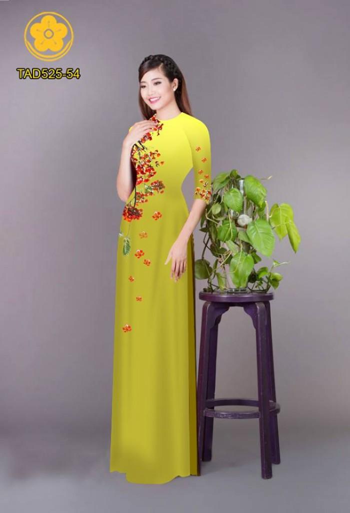 Vải áo dài hoa phượng TAD52526