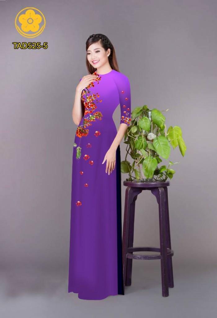 Vải áo dài hoa phượng TAD52528