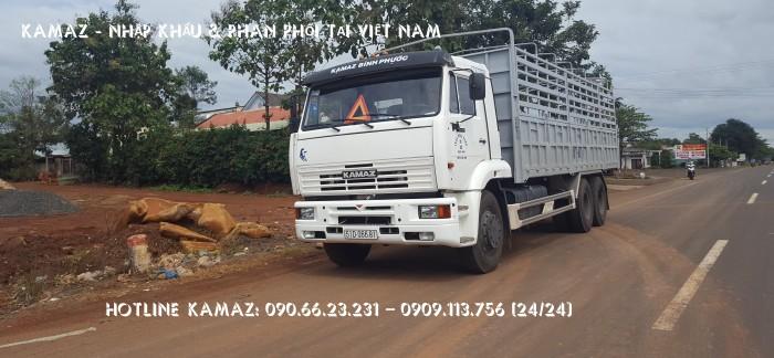 Xe tải thùng 65117 (6x4) 14 tấn | Bán xe thùng Kamaz 3 chân  tại Bình phước