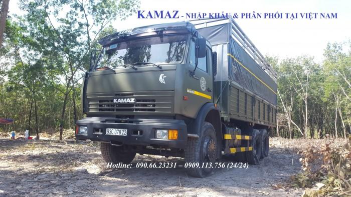 Bán xe tải thùng 3 chân Kamaz 53229 (6x4) tải trọng 15 tấn  màu xanh quân đội Nhập khẩu  [ Hỗ trợ trả góp]