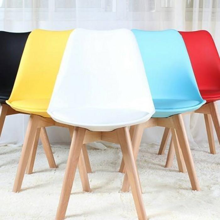 Eames DSW| Ghế bàn ăn, ghế cafe, ghế phòng chờ tiếp khách thân nhựa chân gỗ có nệm lót |Capta