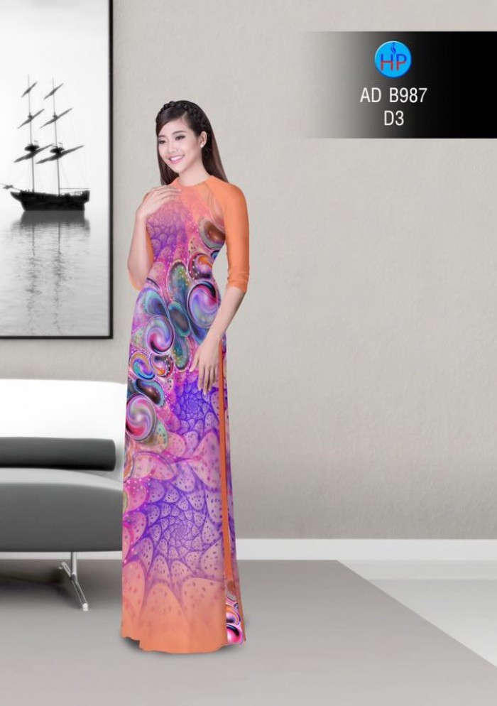 Vải áo dài hoa ảo 3D ADB9870