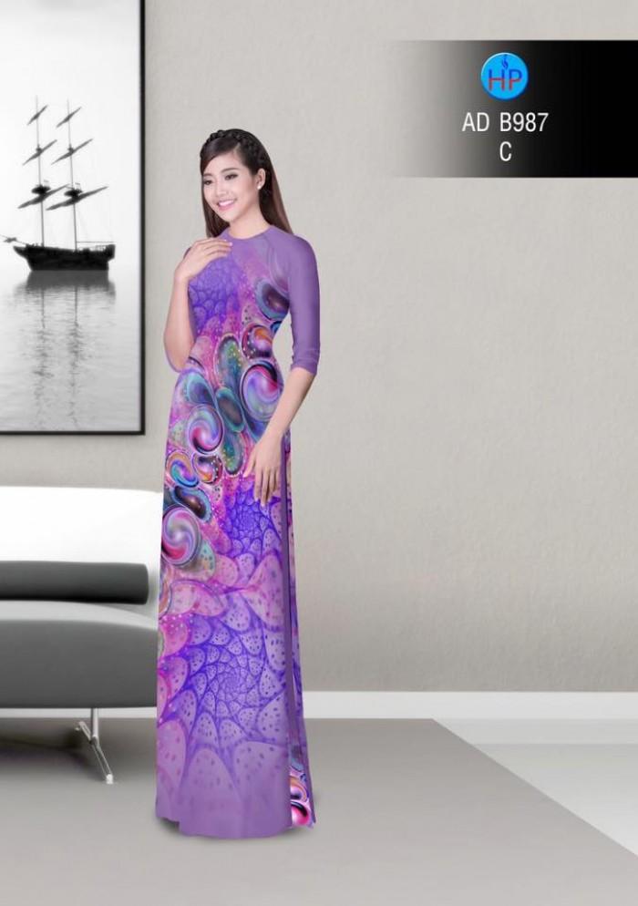 Vải áo dài hoa ảo 3D ADB9871