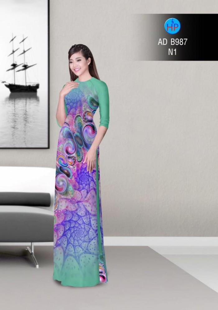 Vải áo dài hoa ảo 3D ADB9872