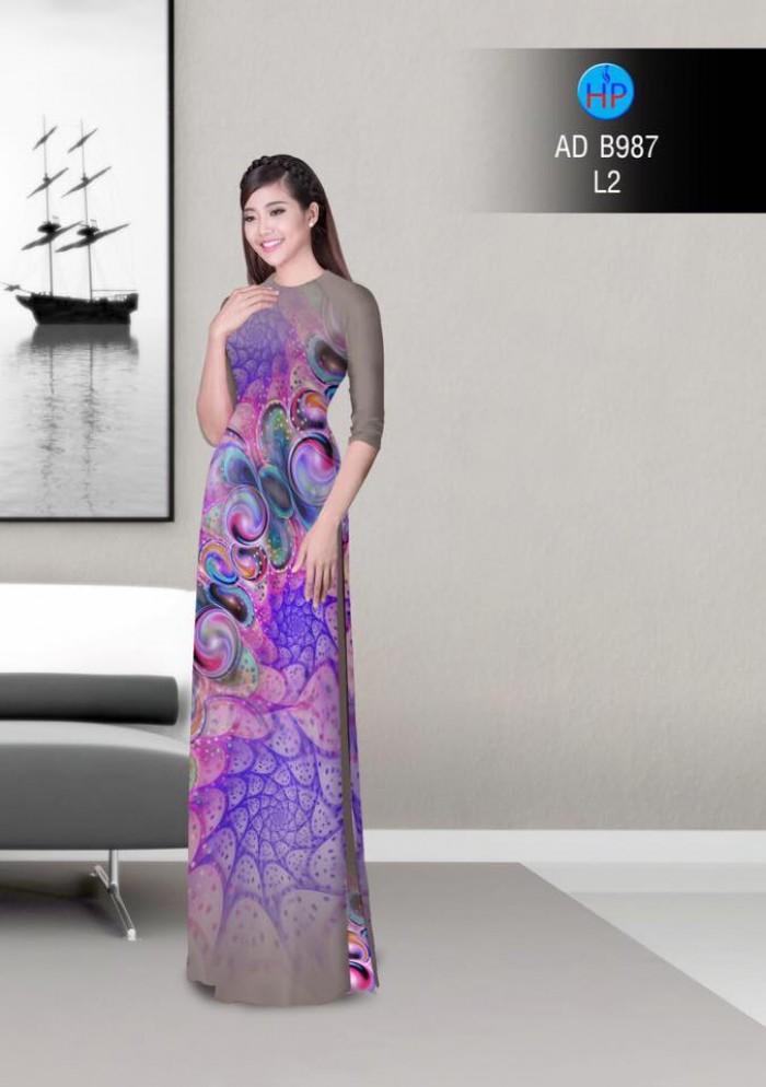 Vải áo dài hoa ảo 3D ADB9873
