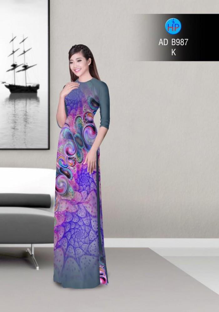Vải áo dài hoa ảo 3D ADB9874