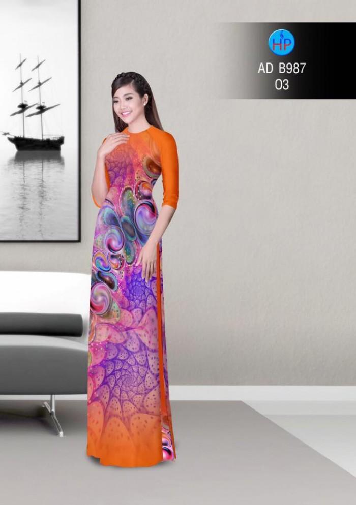 Vải áo dài hoa ảo 3D ADB987
