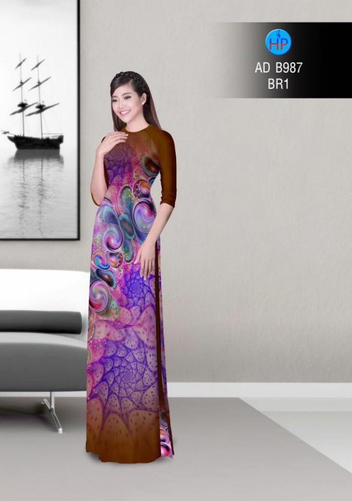 Vải áo dài hoa ảo 3D ADB9876