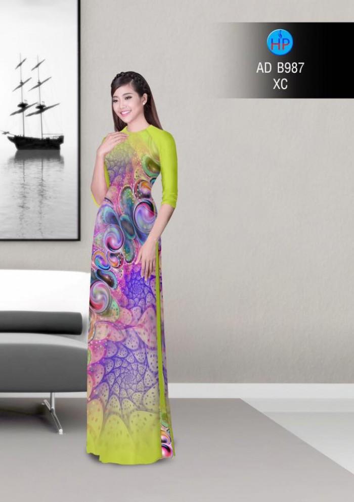 Vải áo dài hoa ảo 3D ADB9877