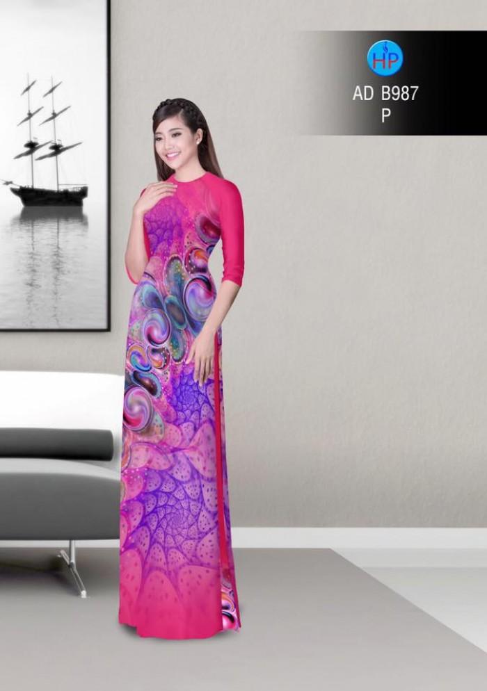 Vải áo dài hoa ảo 3D ADB9878