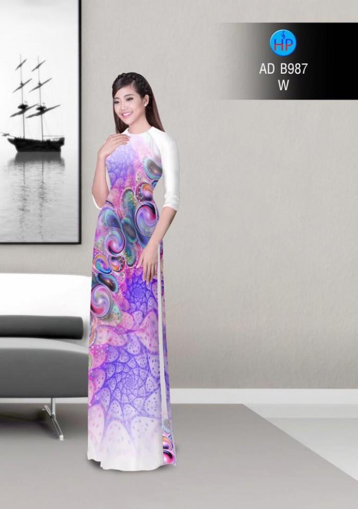 Vải áo dài hoa ảo 3D ADB9879