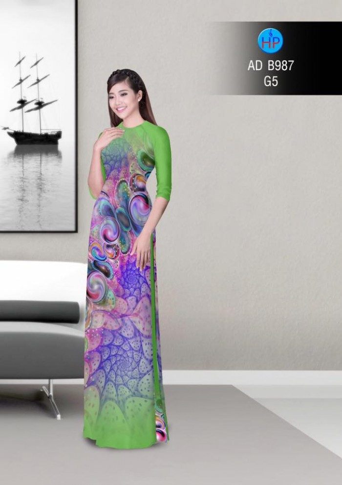 Vải áo dài hoa ảo 3D ADB98710