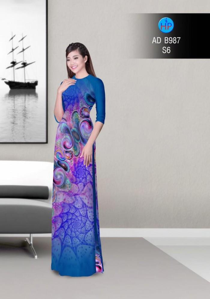 Vải áo dài hoa ảo 3D ADB98711