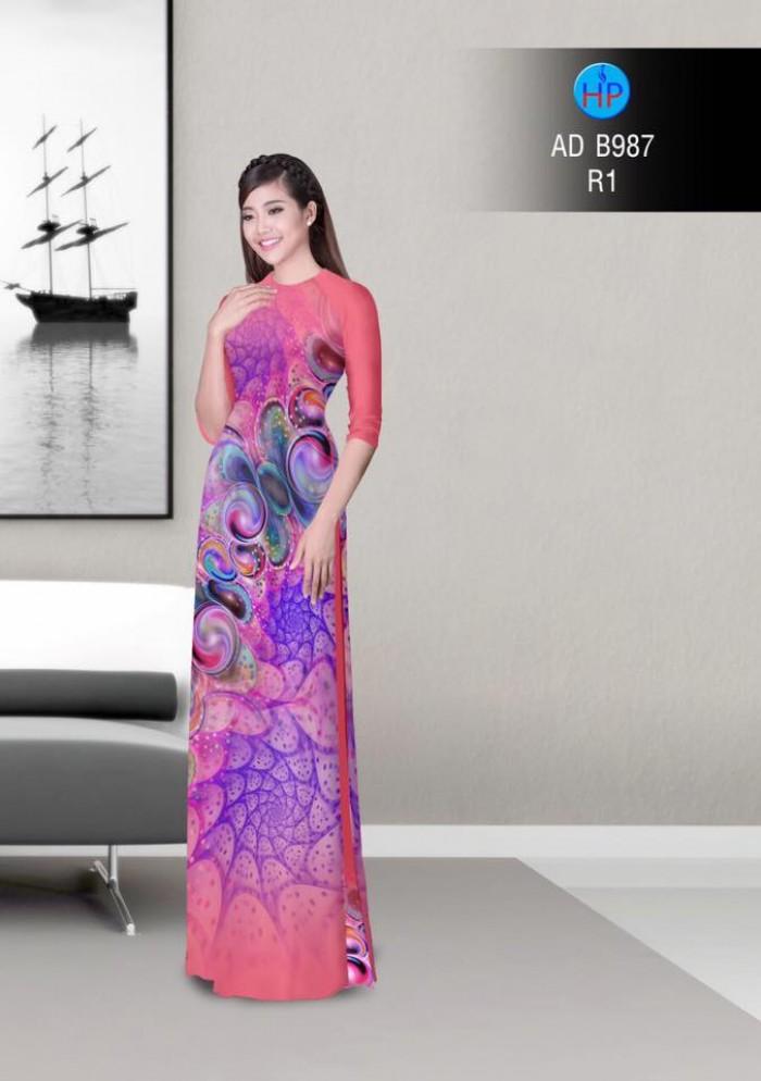 Vải áo dài hoa ảo 3D ADB98712